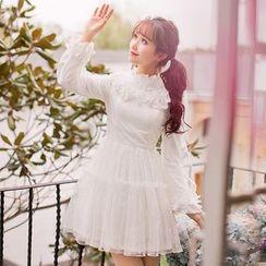 Candy Rain - Long-Sleeve Ruffle Trim A-line Dress