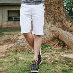 SeventyAge - 口袋配色滚边合身素面短裤