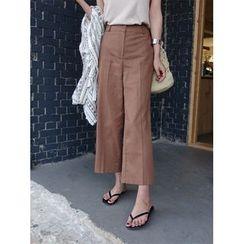 hellopeco - Linen Blend Wide-Leg Pants