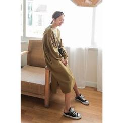 PPGIRL - Shirred-Sleeve Long Pullover Dress