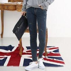 Seoul Fashion - Stitched Skinny Jeans