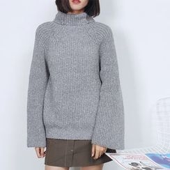 Sens Collection - Turtleneck Bell-Sleeve Sweater