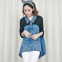 LULUS - 3/4 Sleeve Chiffon-Panel Denim Shirt
