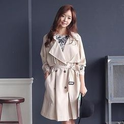 Envy Look - Flap-Front Double-Breasted Trench Coat