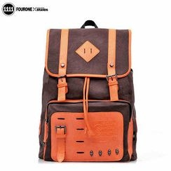 Fourone - Faux Leather-Panel Studded Canvas Backpack