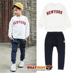 BILLY JEAN - Kids Set: Slit-Detail Lettering Top + Banded-Waist Pants