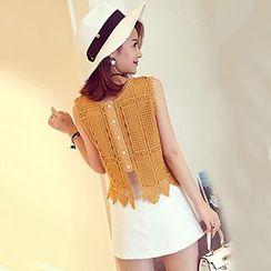 Ashlee - 套裝: 無袖蕾絲上衣 + 刺繡裙
