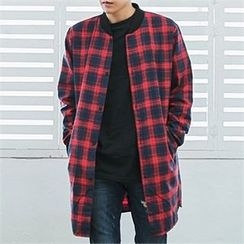 MITOSHOP - Pocket-Side Plaid Long Jacket