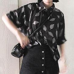 Eva Fashion - Leaf Print Chiffon Shirt