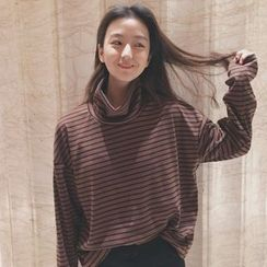Tiny Times - Striped Funnel Neck Long-Sleeve T-Shirt