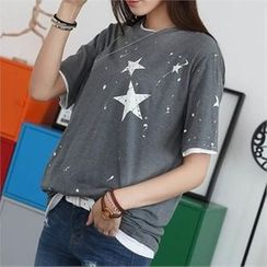 CHICFOX - Short-Sleeve Star-Printed T-Shirt