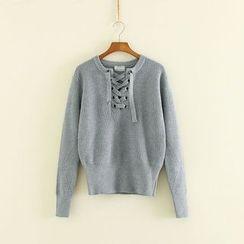 Mushi - Lace Up Knit Top