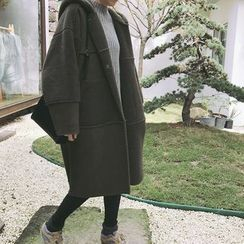ByPeggie - Pocketed Faux Shearling Hooded Jacket