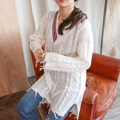 PPGIRL - V-Neck Distressed Cable-Knit Top