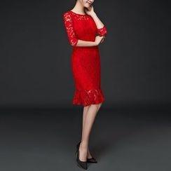 LYRA - Long-Sleeve Lace Sheath Party Dress