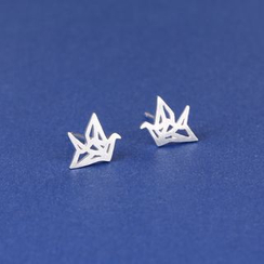 Zundiao - Metallic Origami Crane Earrings