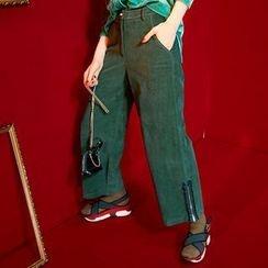 ELF SACK - Paneled Zip-Accent Wide-Leg Pants