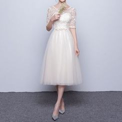 Luxury Style - Embroidered Elbow-Sleeve Midi Prom Dress