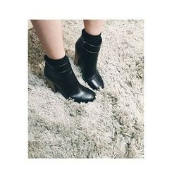 ATTYSTORY - Square-Toe Chunky-Heel Ankle Boots