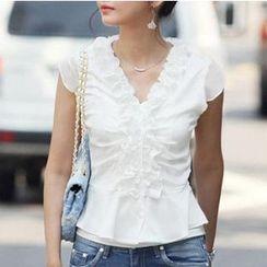 Raisin - 短袖荷叶边衬衫