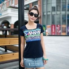 Zosia - Short-Sleeve Patterned T-Shirt