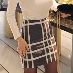 Seoul Fashion - Checked Wool Blend Mini Skirt