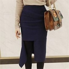LIPHOP - Wool Blend Asymmetric-Hem Skirt