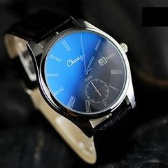 InShop Watches - Calendar Faux-Leather Strap Watch