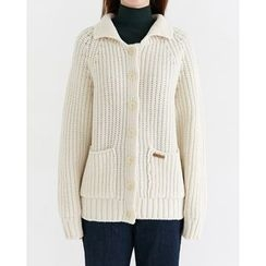 Someday, if - Dual-Pocket Wool Blend Chunky-Knit Cardigan