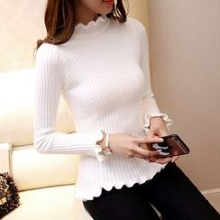 Ageha - Frill Trim Mock-neck Ribbed Knit Top