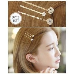 Miss21 Korea - Set of 3: Smile Rhinestone Hair Pin