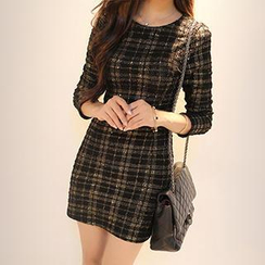 Dowisi - Long-Sleeve Plaid Sequined Dress