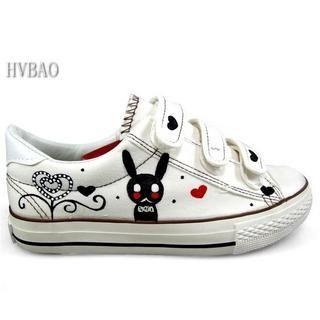 HVBAO - Rabbit Print Velcro Canvas Sneakers