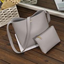 Diamante - Set of 2: Faux Leather Shoulder Bag + Zip Pouch