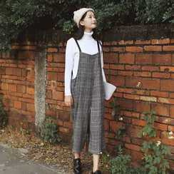 sansweet - Plaid Wide Leg Pinafore Jumpsuit