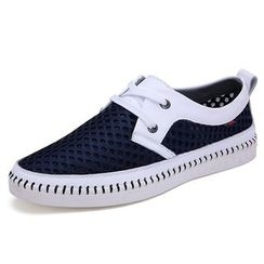 EnllerviiD - Mesh Panel Leather Sneakers