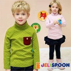 JELISPOON - Kids Turtle-Neck Dotted T-Shirt