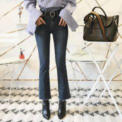 DABAGIRL - Fray-Hem Washed Boot-Cut Jeans