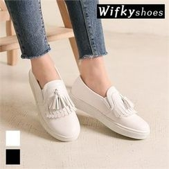 Wifky - Tasseled Faux-Leather Slip-Ons