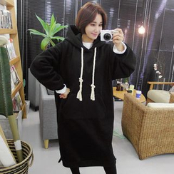 Seoul Fashion - Hooded Brushed-Fleece Lined Pullover Dress