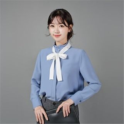 Styleberry - Frill-Neck Faux-Pearl Trim Blouse with Sash