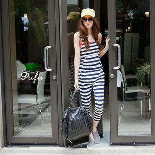PUFII - Striped Jumpsuit