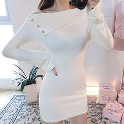 chuu - Asymmetric Off-Shoulder Bodycon Dress