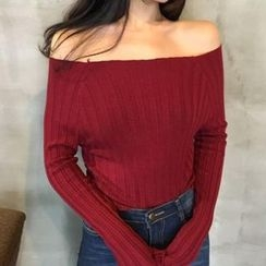 VeryBerry - Off Shoulder Knit Pullover