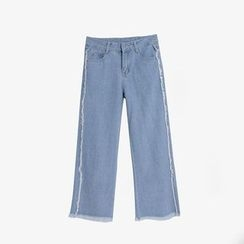 Flore - Straight-Leg Fringed Jeans