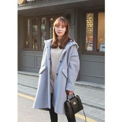 J-ANN - Hooded Snap-Button Coat