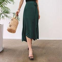 DABAGIRL - Tie-Waist Midi Wrap Skirt