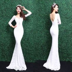 Escaf - 3/4-Sleeve Lace Mermaid Evening Gown