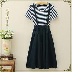 Storyland - Set: Striped T-Shirt + Jumper Dress