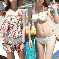 DJ Design - Set: Bikini + Floral Print Sleeveless Top + Shorts